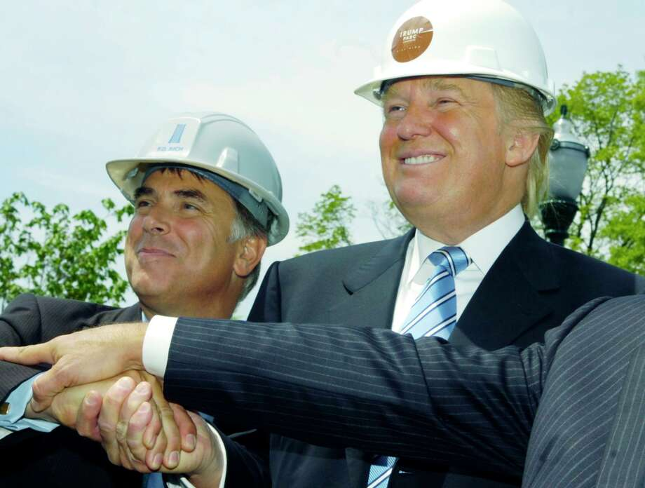 Donald Trump, right, joins developer Thomas Rich for the groundbreaking ceremony of Trump Parc on Tuesday May 15, 2007. Photo: Hearst Connecticut Media / Stamford Advocate file photo