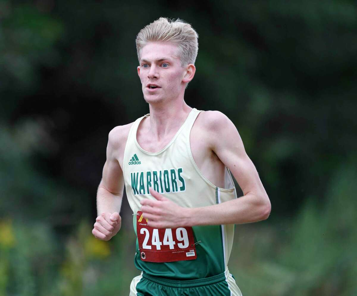 The Woodlands Christian Academy's Ben Shearer finished first overall during the District 7-5A high school cross country meet at The Woodlands Christian Academy, Saturday, Oct. 24, 2020, in The Woodlands.