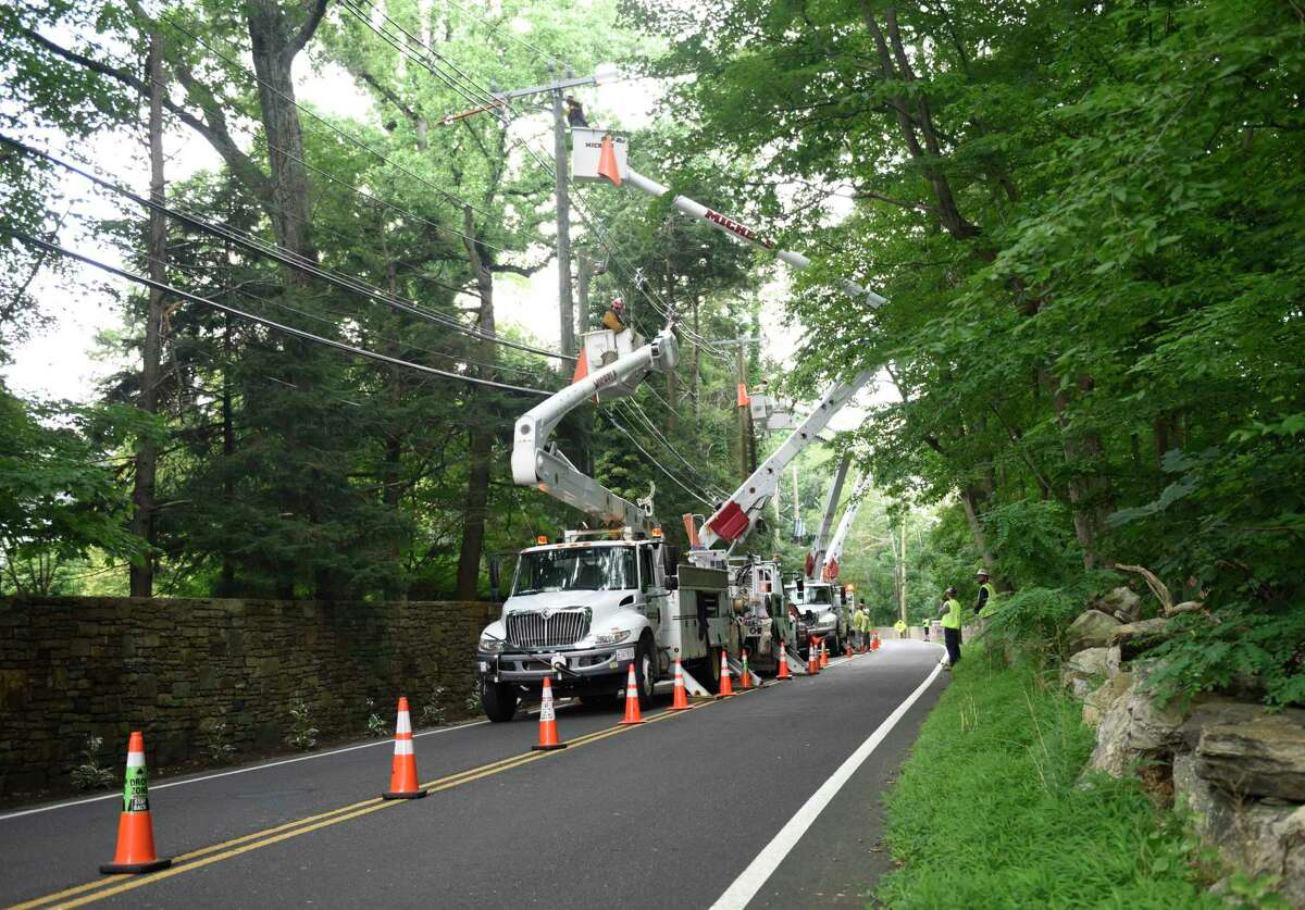 File photo of Eversource crews doing utility work on Riversville Road in the Glenville section of Greenwich, Conn.