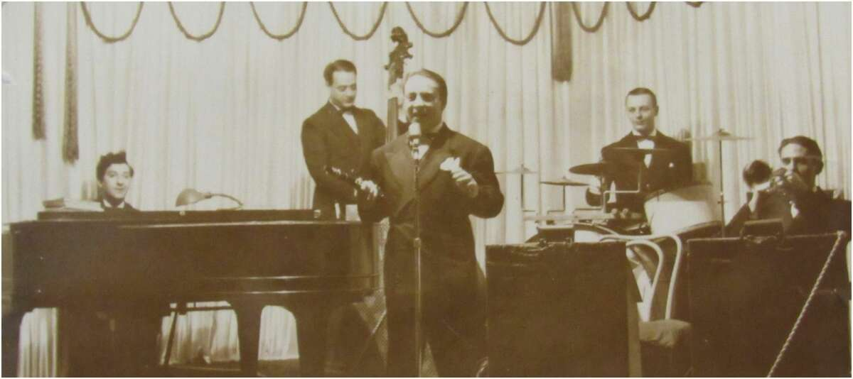 Bass player Dominic Catoggio, shown circa 1940 with an unidentified band, was the father of Michael Catoggio, whose urge to find out more about his father's musical life led to the creation of the new website Swing Era in the Capital District: 1935-1945. (Provided photo.)
