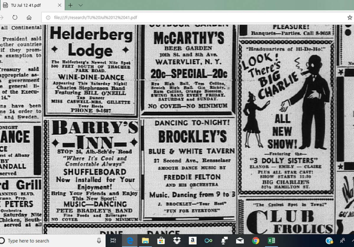 Circa-1940 entertainment and restaurant advertisements in the Times Union included Big Charlie's Harlem Grill, a Black-owned music destination on Hamilton Street in downtown Albany. It is among the archival material included on the new website Swing Era in the Capital District: 1935-1945. (Provided photo.)