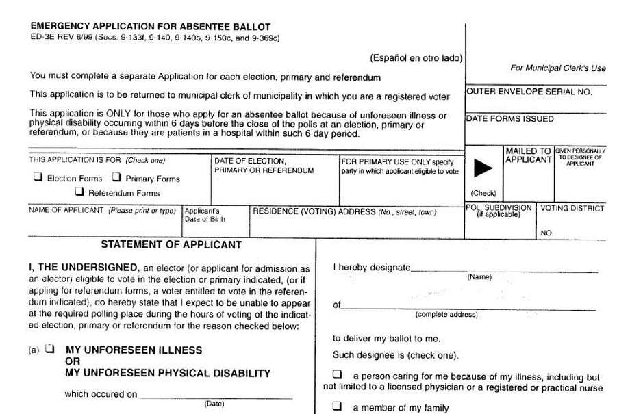 Emergency absentee ballots are available for people who are in quarantine or have an unforeseen illness and can not make it to the polls.