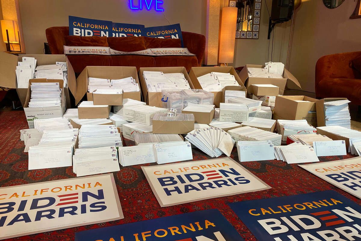 Volunteers at Manny's sent more than 25,000 letters to swing state voters.