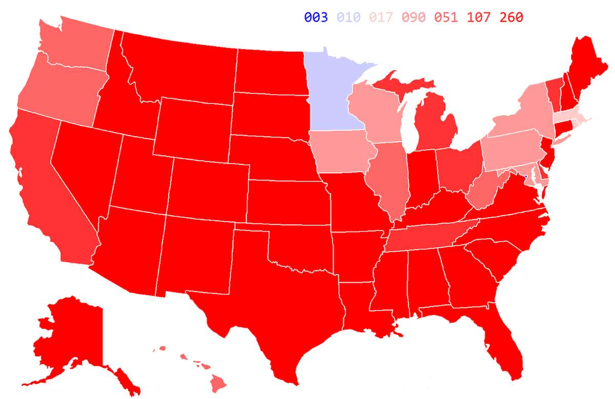 Margin of victory by state, 1984 presidential election.