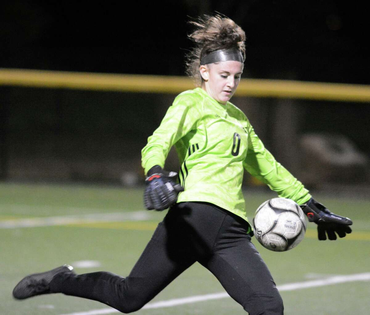 Daniel Hand goalie Brooke Salvati kicks the ball during a girls soccer game against Guilford on Tuesday, Oct. 27, 2020 in Madison, Conn.