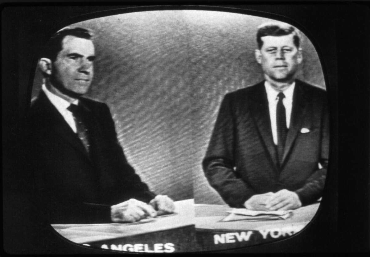1960: Presidential candidates Richard Nixon, left, later the 37th president of the United States, and John F. Kennedy, the 35th president, during the televised debate.