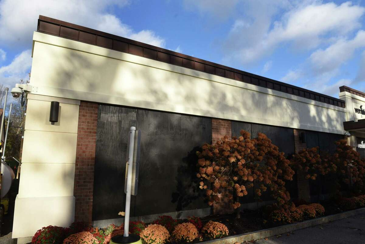 Windows are boarded up at the Verilife medical marijuana dispensary on Monday, Nov. 2, 2020, on Executive Park Drrive in Guilderland, N.Y. (Will Waldron/Times Union)
