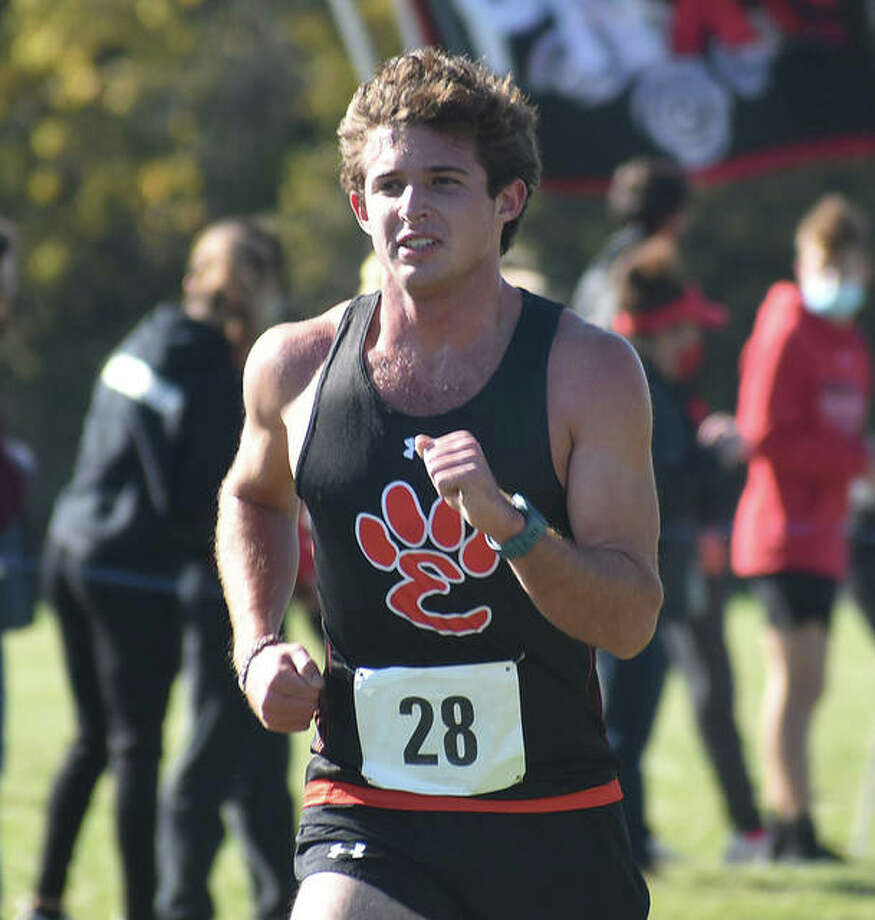 Edwardsville senior Drew Stover nears the finish line of the Class 3A Normal Community Sectional on Saturday. Photo: Matt Kamp|The Intelligencer