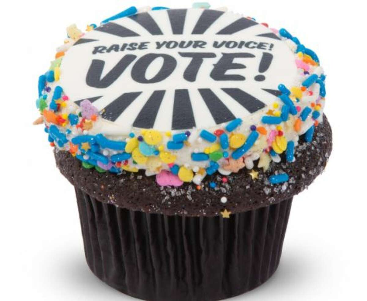 Enjoy a single - or dozen - vote-themed cupcakes from Seattle's Trophy Cupcakes this Election Day. The chocolate vanilla cupcakes, topped with an edible