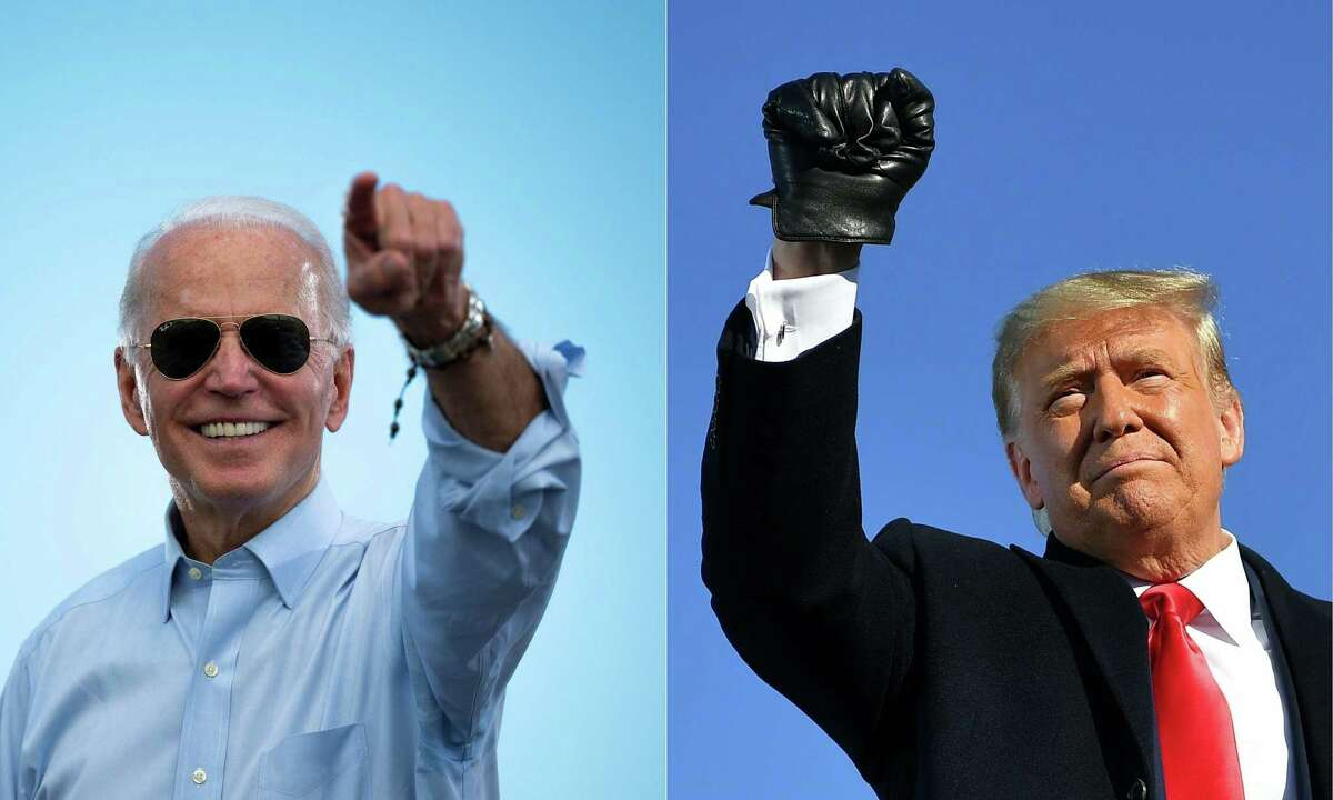 This combination of pictures shows Democratic Presidential candidate and former Vice President Joe Biden at a Drive-in event in Coconut Creek, Florida, on Oct. 29, 2020, and President Donald Trump at a campaign rally at Green Bay Austin Straubel International Airport in Green Bay, Wisconsin on Oct. 30, 2020. Trump cast protests over systemic racism across the U.S. this year as radical and has emphasized a