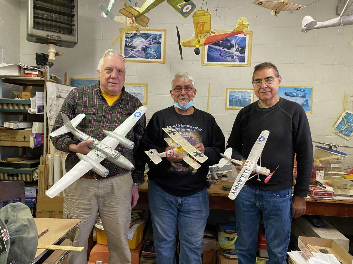 From left, Michael Theodoseau, Eric Villano, Mike Franco at the Milford Model Airplane Group