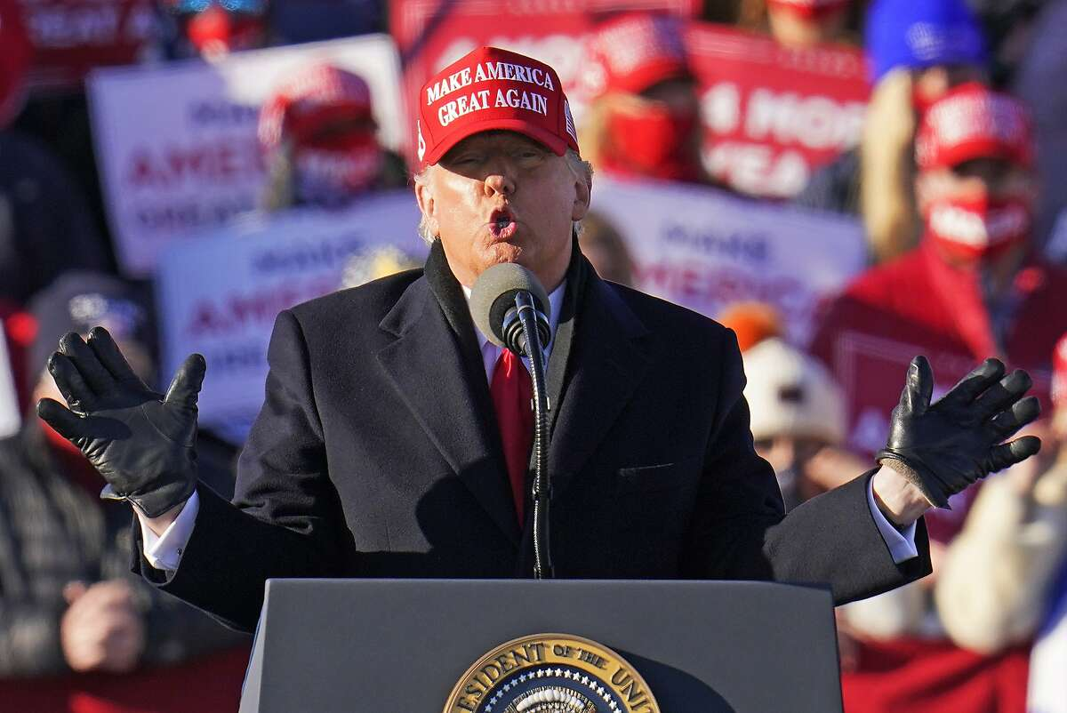 President Trump addresses a last-minute campaign rally in Avoca, Pa., Monday in a hotly fought battleground state.