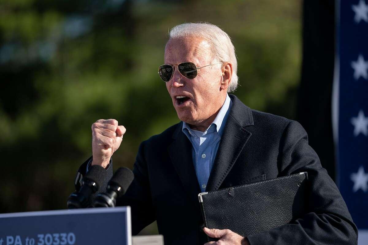 Democratic presidential nominee Joe Biden campaigns at a community college in Monaca, Pa., in a battleground state.