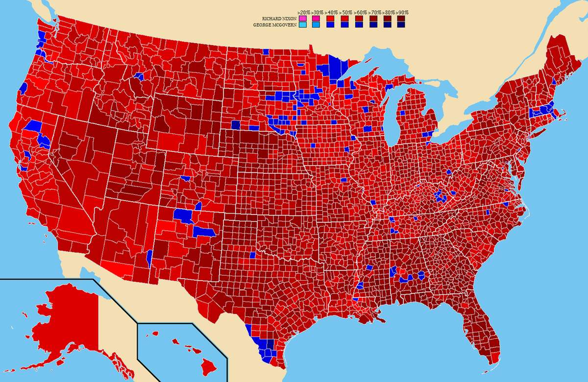 1972 presidential election results by county. Red is Richard Nixon, blue George McGovern.