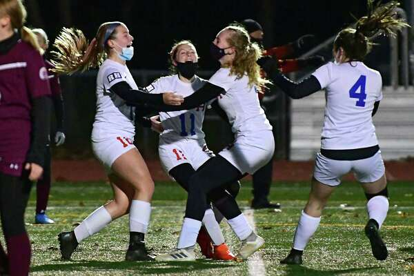 Maple Hill celebrates after a goal by Alayna Fletcher, left, in the first half of the Patroon Conference girls' soccer title game against Greenville on Monday, Nov. 2, 2020 in Craryville, N.Y. (Lori Van Buren/Times Union)