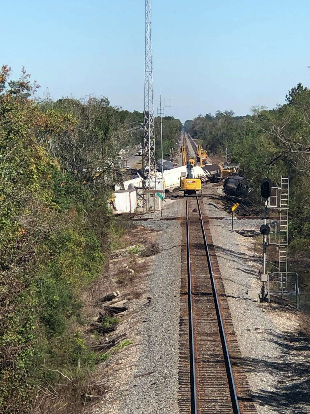 Mauriceville resident Princess Theriot got this photo of the cleanup efforts from an Oct. 29 derailment near her home.
