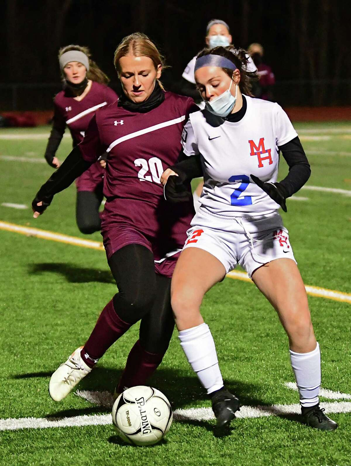 Greenville's Kaylee Burke, left, battles with Maple Hill's Isabella Thomas during the Patroon Conference girls' soccer title game on Monday, Nov. 2, 2020 in Craryville, N.Y. (Lori Van Buren/Times Union)