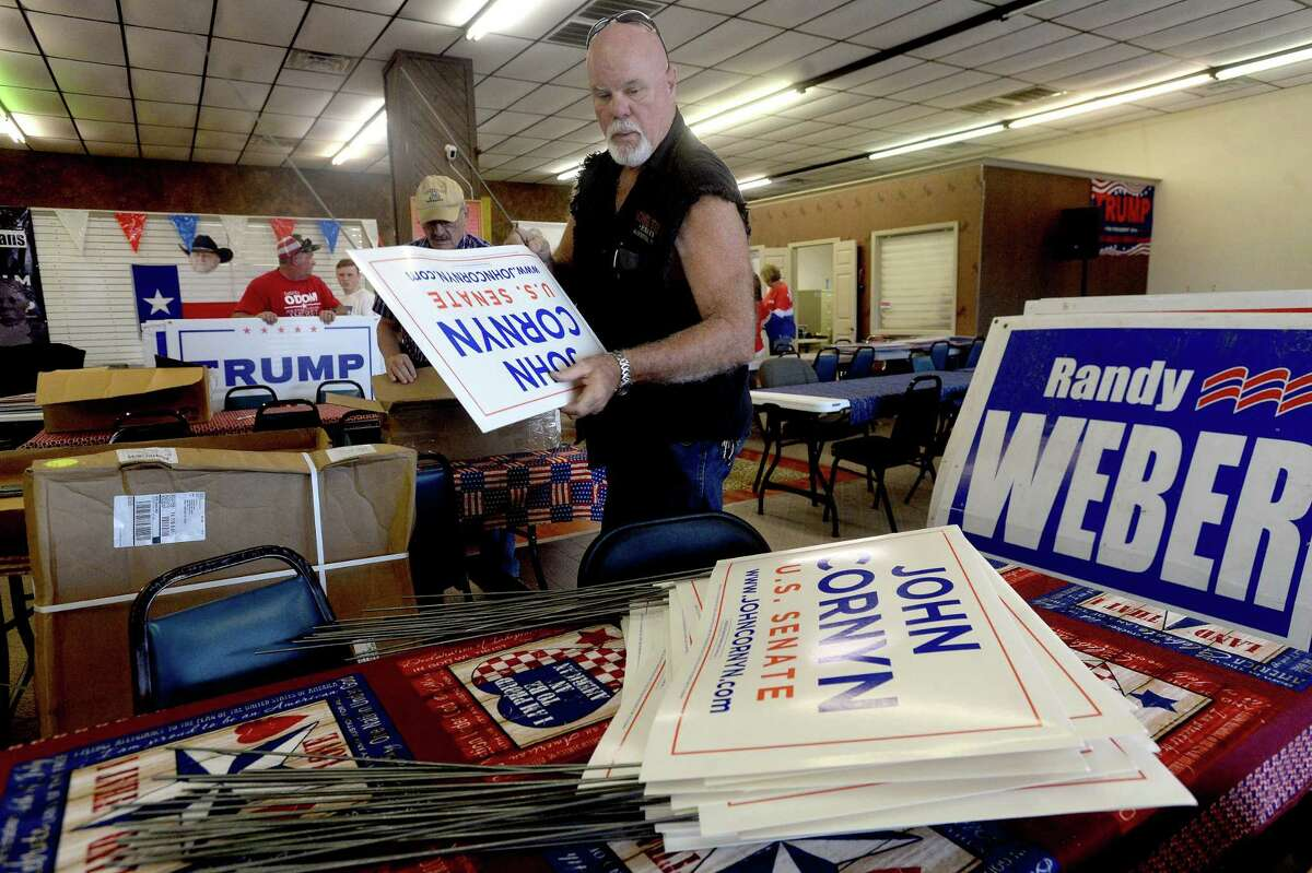 Mark Godley puts together more Cornyn signs as party workers and volunteers get ready for tomorrow's election and make final bids to voters at the Jefferson County Republican Headquarters Monday. Photo taken Monday, November 2, 2020 Kim Brent/The Enterprise