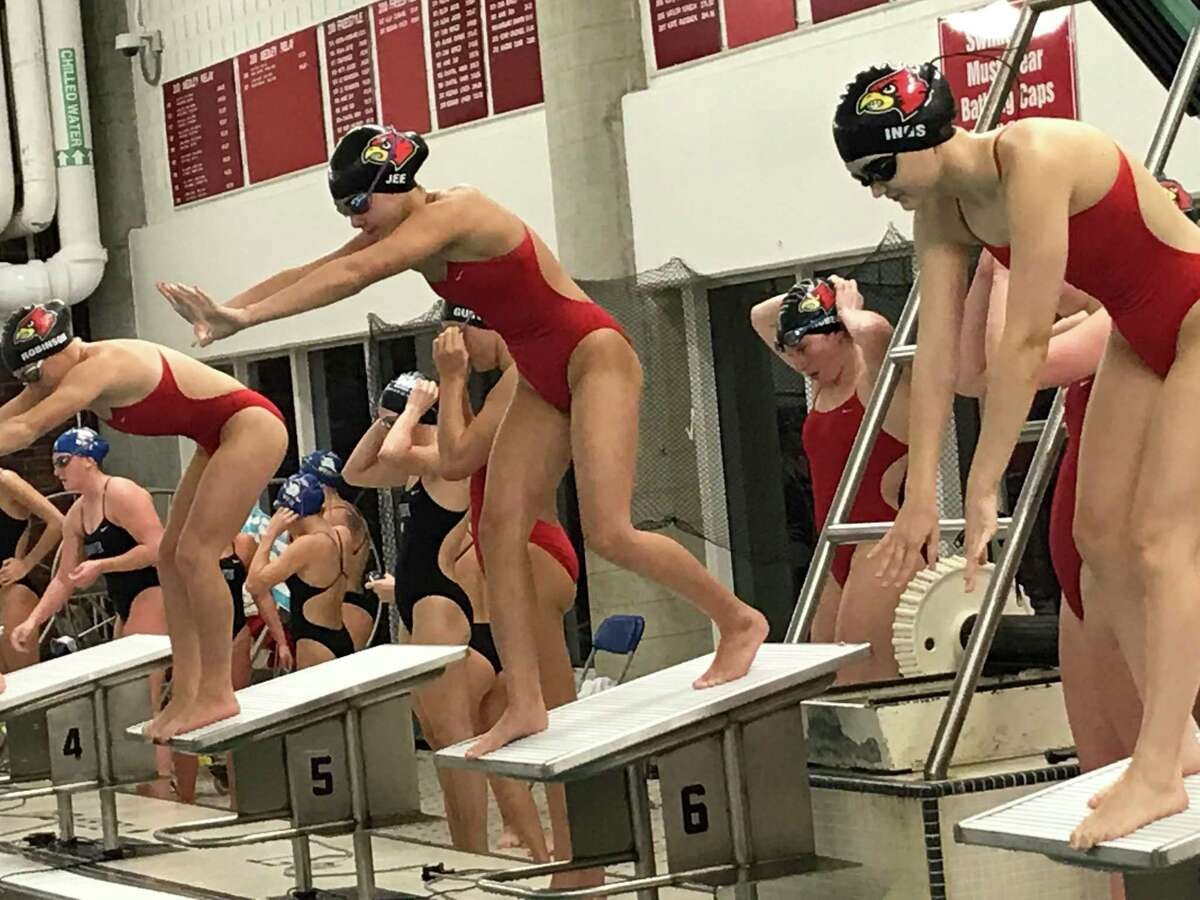 The Greenwich High School girls swimming team defeated rival Darien on Monday, November 2, 2020, in Greenwich, Connecticut.