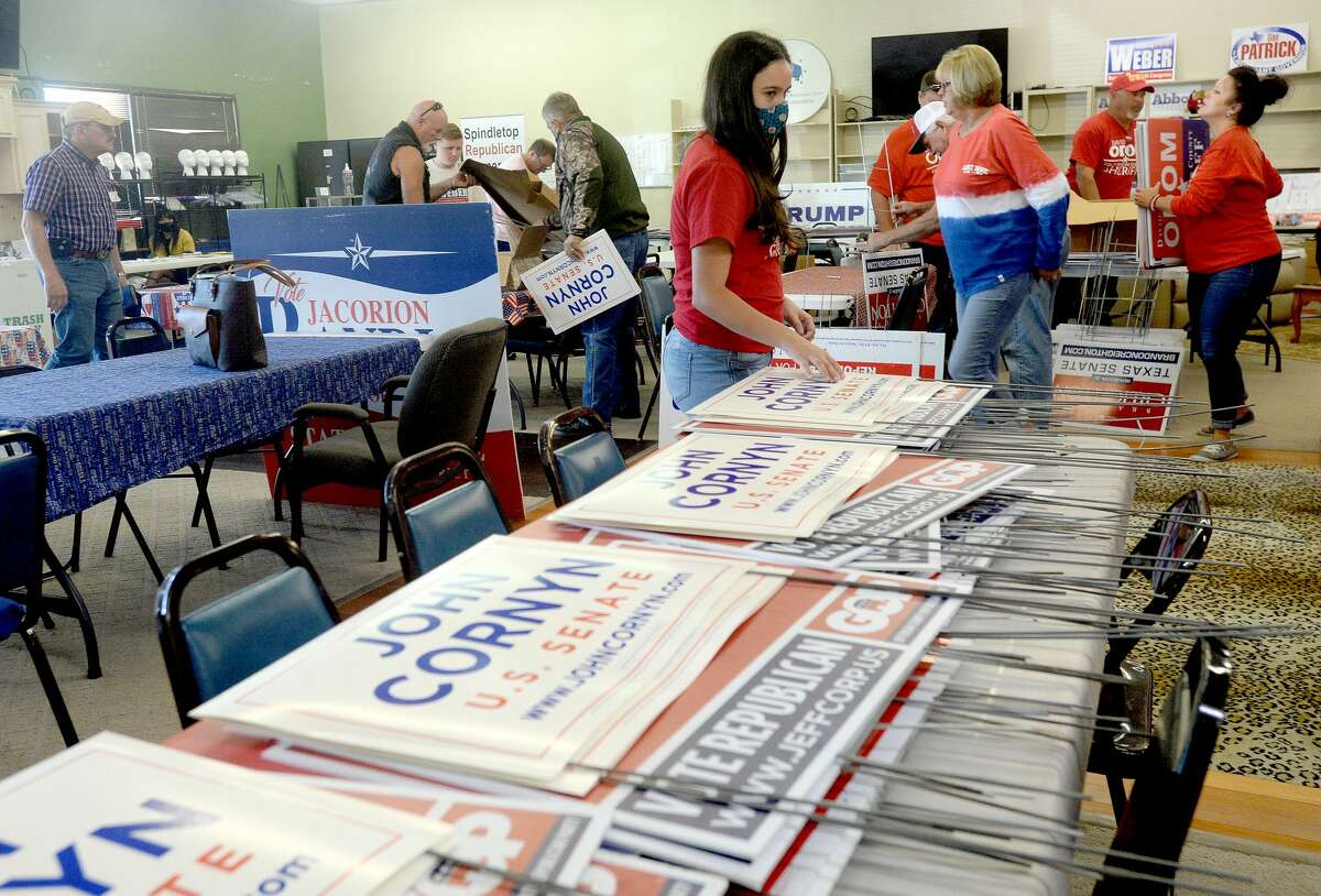 Party workers and volunteers get ready for tomorrow's election and make final bids to voters at the Jefferson County Republican Headquarters Monday. Photo taken Monday, November 2, 2020 Kim Brent/The Enterprise