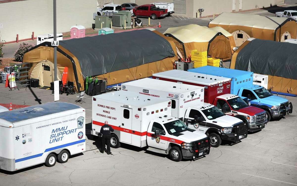 Tent hospitals, staff and equipment provided by the state have been set up in the parking lot of Texas Tech University Health Sciences Center El Paso.