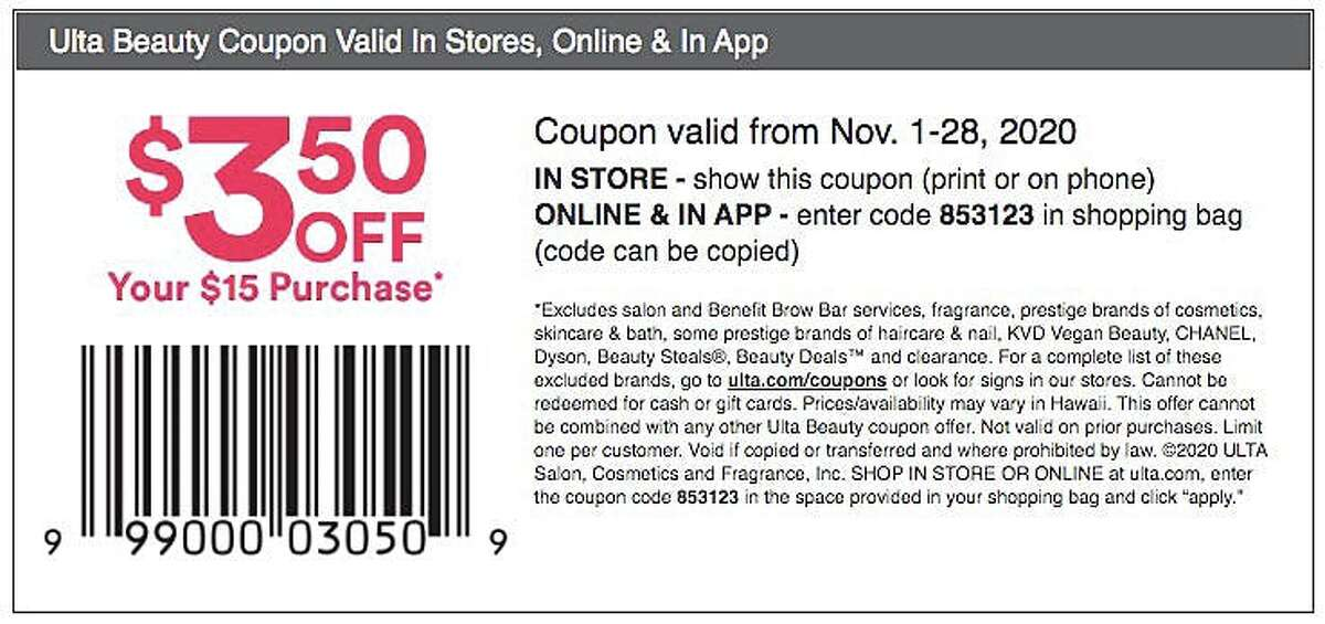 Save $3.50 on eligible purchases at Ulta through November 28, 2020.