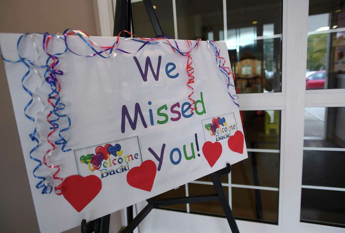 A sign welcomes guest to the first day of reopening at the Shelton Senior Center in Shelton, Conn. on Monday, September 28, 2020.