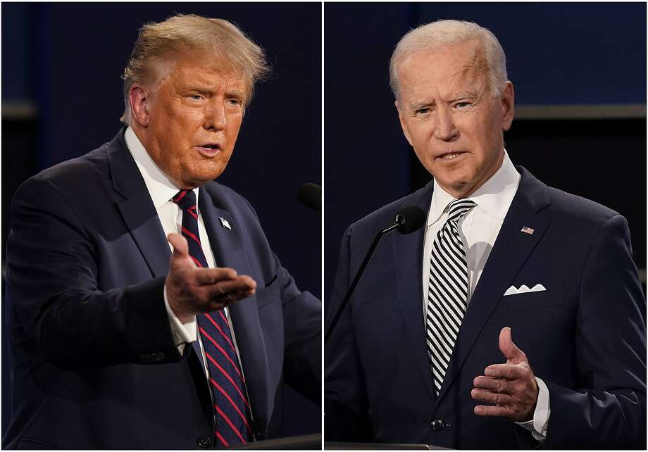 FILE - This combination of Sept. 29, 2020, file photos shows President Donald Trump, left, and former Vice President Joe Biden during the first presidential debate at Case Western University and Cleveland Clinic, in Cleveland, Ohio. Trump and Biden have starkly different visions for the international role of the United States — and the presidency. Photo: AP Photo/Patrick Semansky