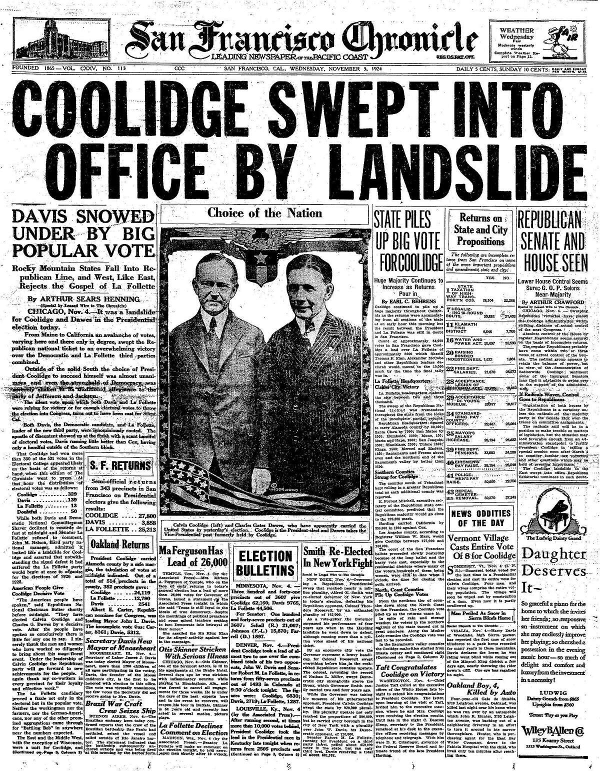 Calvin Coolidge won the 1924 presidential election in a landslide, but in San Francisco third-party candidate Robert La Follette of the Progressive Party would do well, finishing second far ahead of Democratic candidate