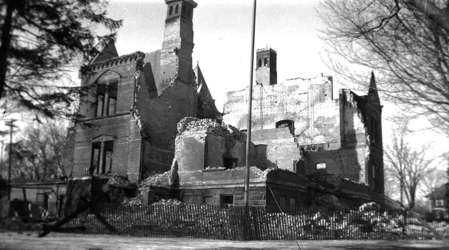The ruins of the old Manistee County Courthouse which was destroyed by fire in Feb. 1950. (Manistee County Historical Museum photo)