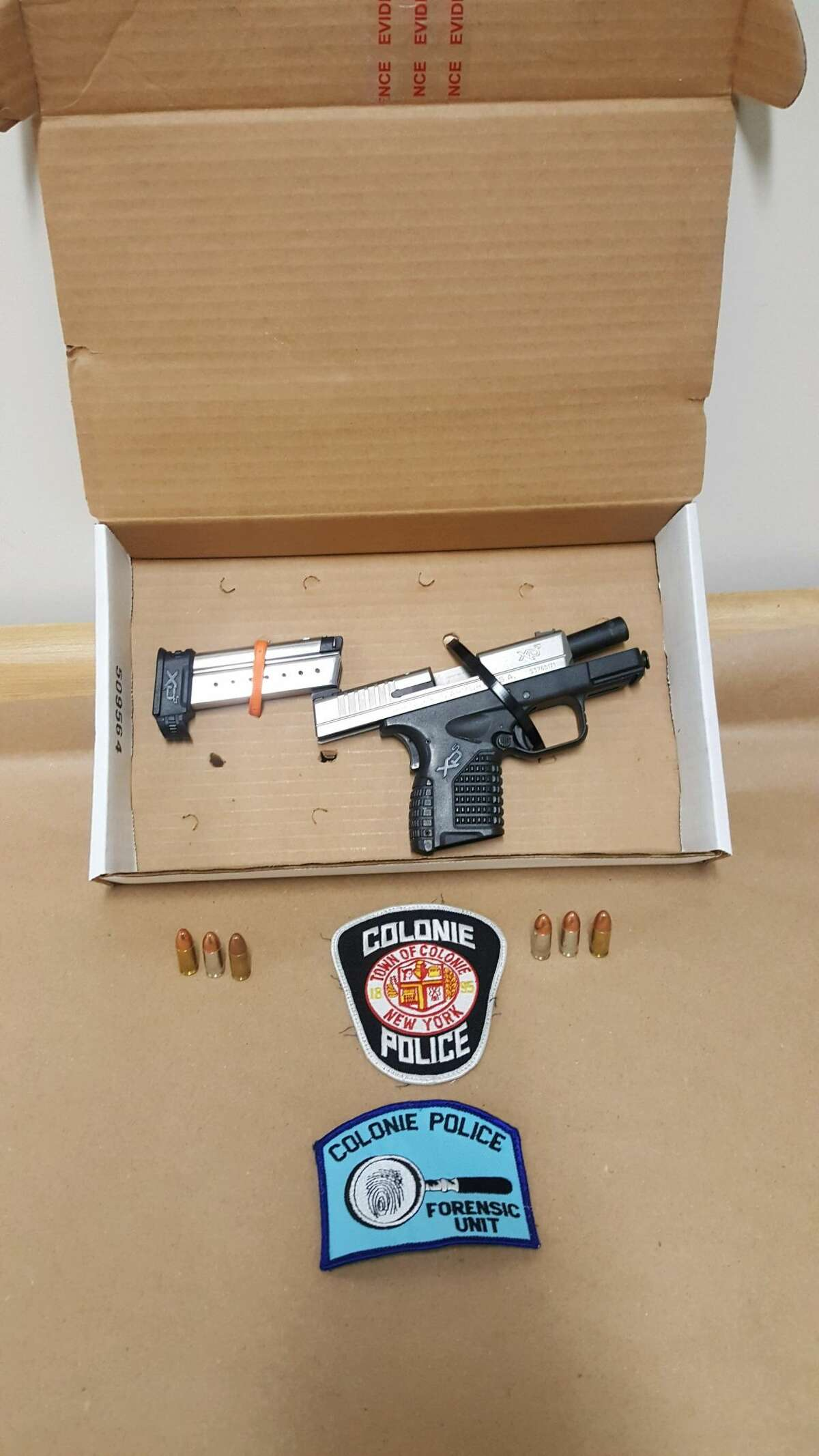 Colonie police allege this is the 9mm handgun a suspect reached for during a traffic stop Nov. 2, 2020.