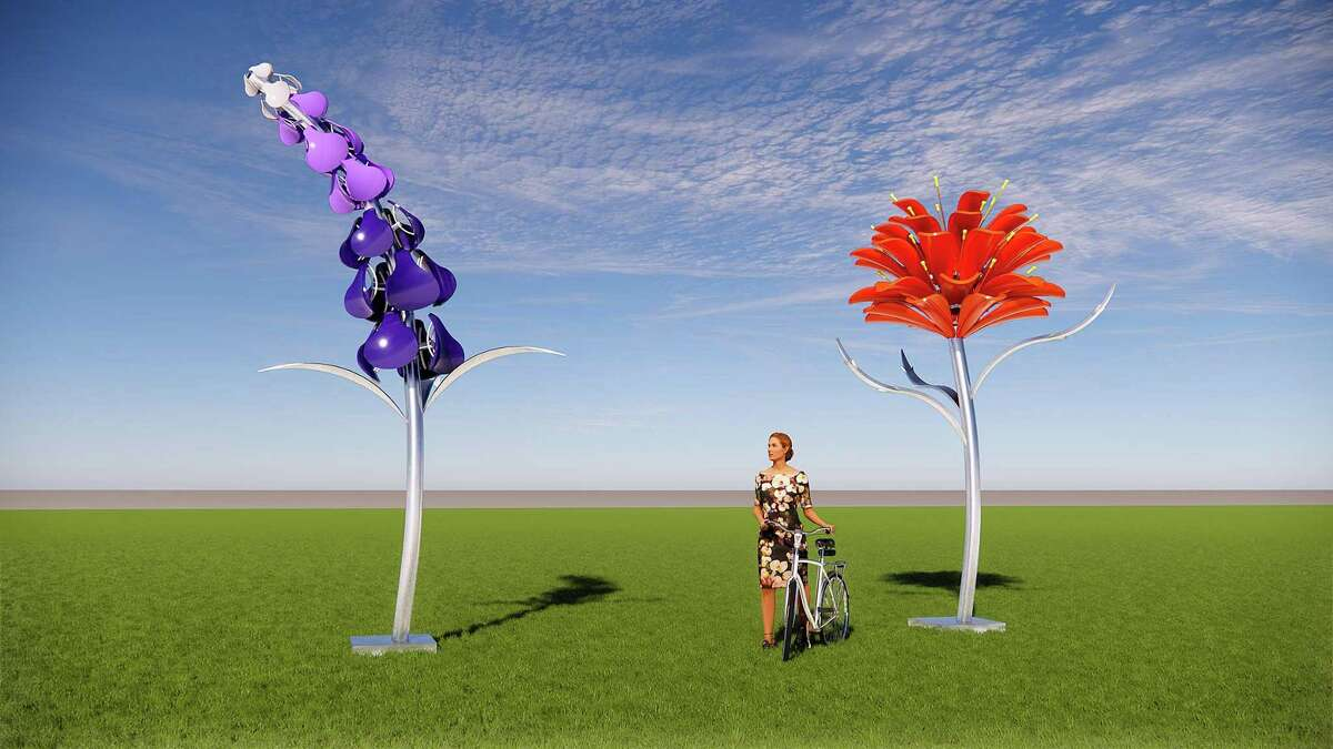 """Artist Leticia Huerta is at work on a series of flower installations for parks across the city similar to """"""""Bloom, which is at McAllister Park. This rendering is for pieces she is planning for the Brazos Pocket Park, slated to be installed in May."""