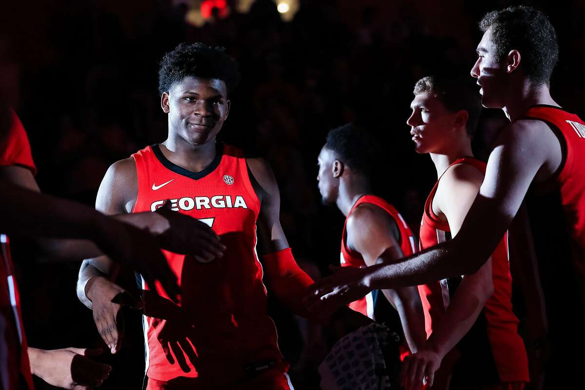 ATHENS, GA - FEBRUARY 19: Anthony Edwards #5 of the Georgia Bulldogs is introduced prior to a game against the Auburn Tigers at Stegeman Coliseum on February 19, 2020 in Athens, Georgia. (Photo by Carmen Mandato/Getty Images)