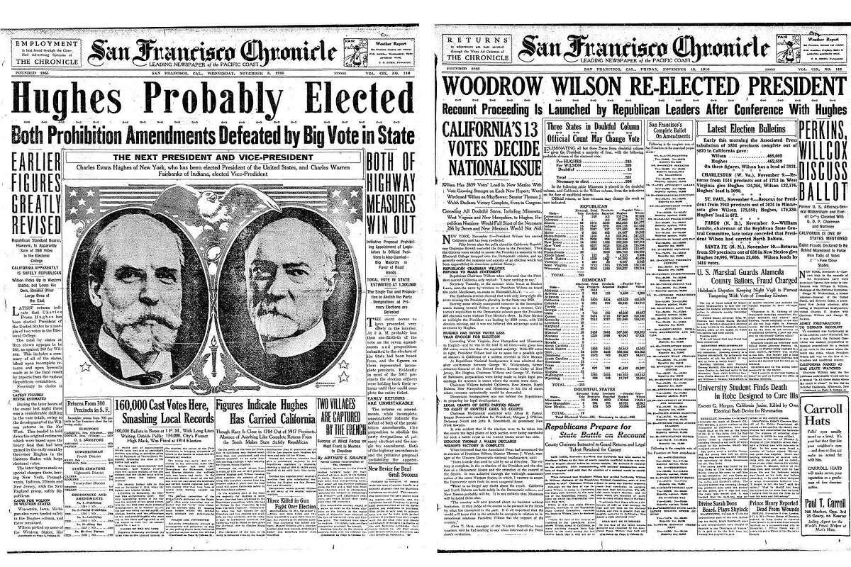 """The Chronicle announced Charles Hughes had """"probably"""" won the presidency in the November 8, 1916 paper, but had a very different front page after more votes were counted."""
