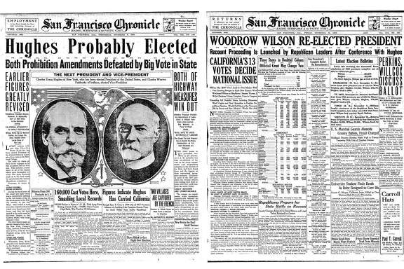 The Chronicle front page for the November 8 and 10, 1916 election. The Chronicle surmised that Charles Hughes had won the presidency, but on November 10 Wilson was the winner
