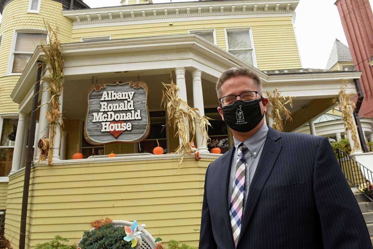 David Jacobsen, CEO of Ronald McDonald House, stands in front of the Ronald McDonald House on South Lake Ave. on Tuesday, Oct. 27, 2020 in Albany, N.Y. (Lori Van Buren/Times Union)