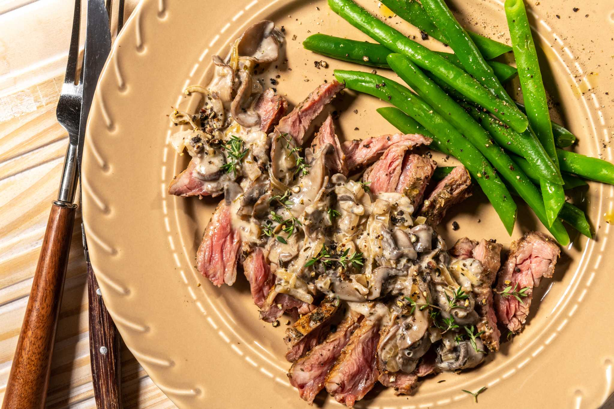 A creamy mushroom sauce makes this skirt steak recipe worth slowing down to savor