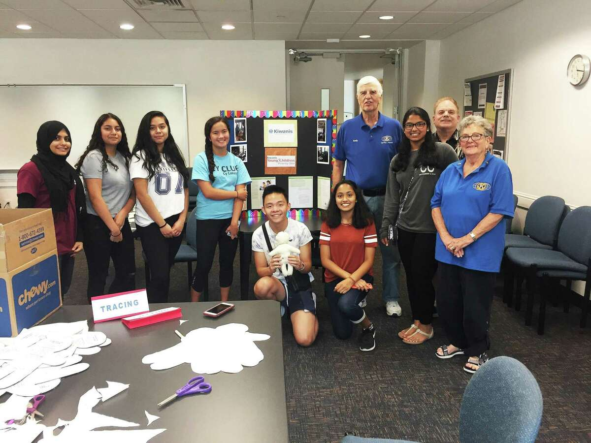 Kiwanians working with Key Clubs to make trauma dolls for first responders to give to children during stressful times.