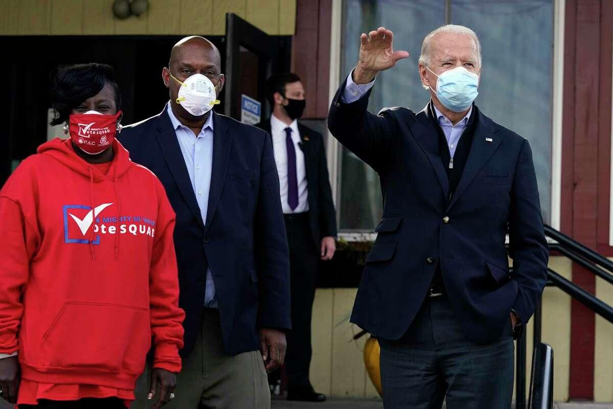Democratic presidential candidate former Vice President Joe Biden arrives at Relish, a restaurant in Philadelphia, Tuesday, Nov. 3, 2020.