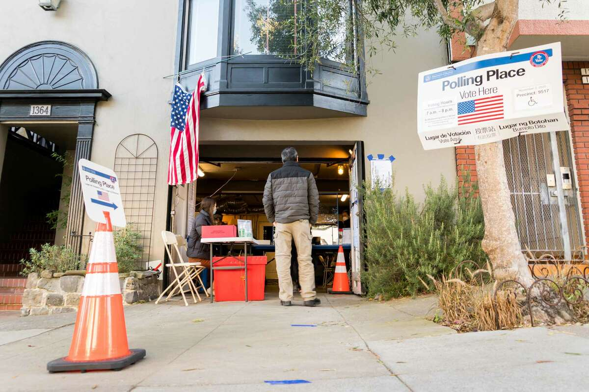 San Francisco residents convert their garages into polling stations for the 2020 presidential election on Nov. 3, 2020, as they have done in years past.