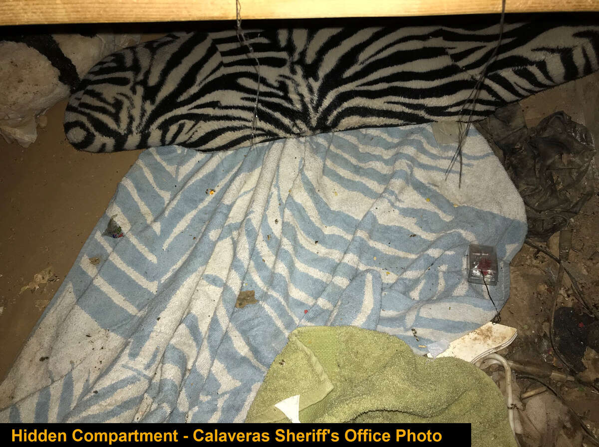 The hidden compartment where a missing 14-year-old girl was found in Calaveras County, Calif., Oct. 30, 2020.