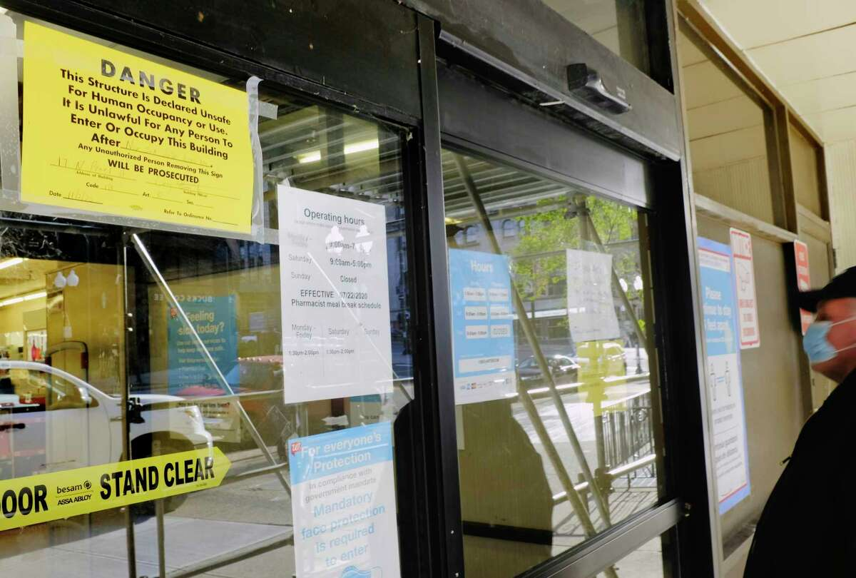 A view of the closed Walgreens on North Pearl Street on Tuesday, Nov. 3, 2020, in Albany, N.Y. The building was closed due to flooding inside. (Paul Buckowski/Times Union)
