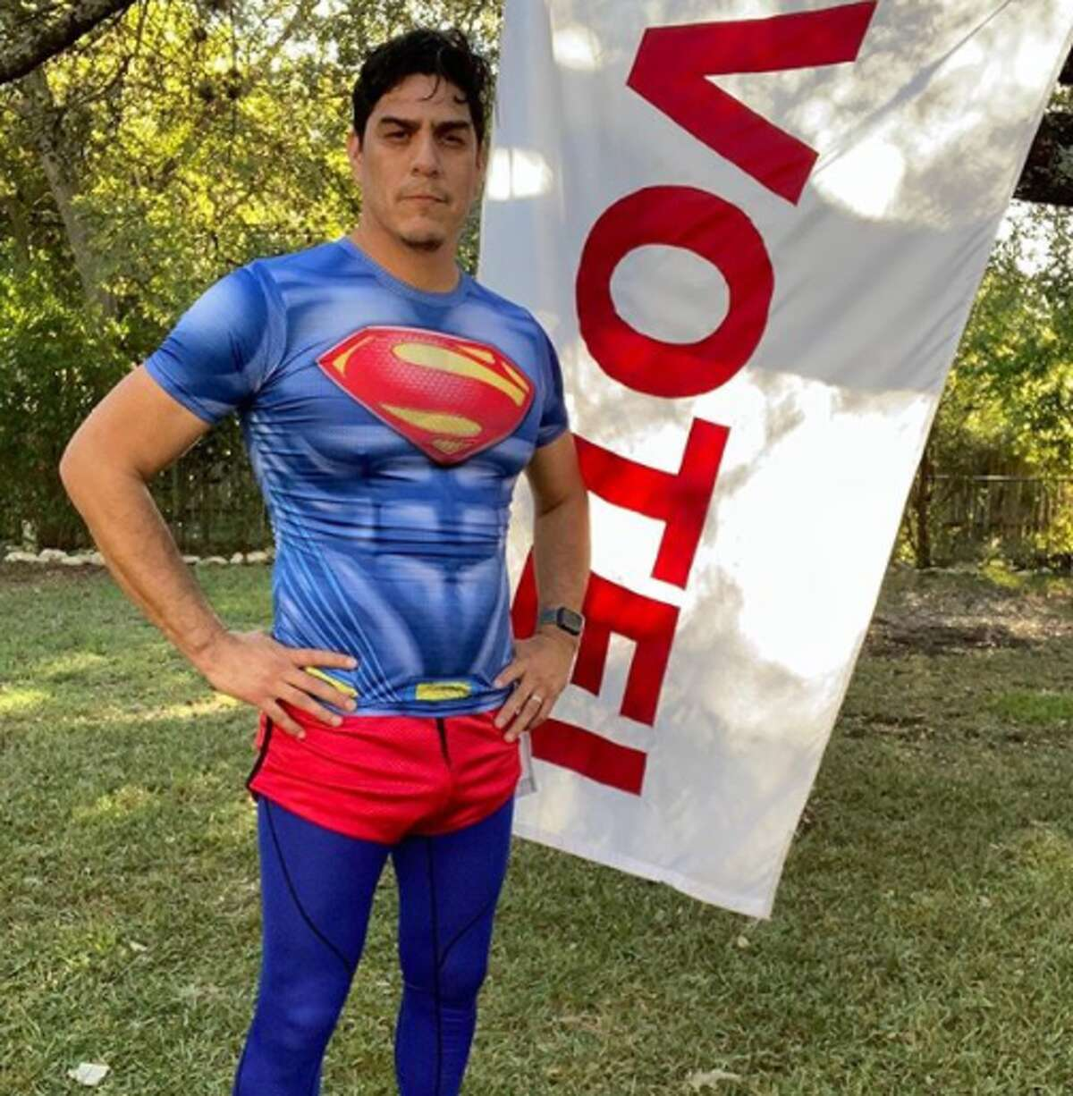 Since early voting started Oct. 13, David Alcantar, 42, has been running about 3 miles a day in local neighborhoods and at election sites across the city for his ongoing