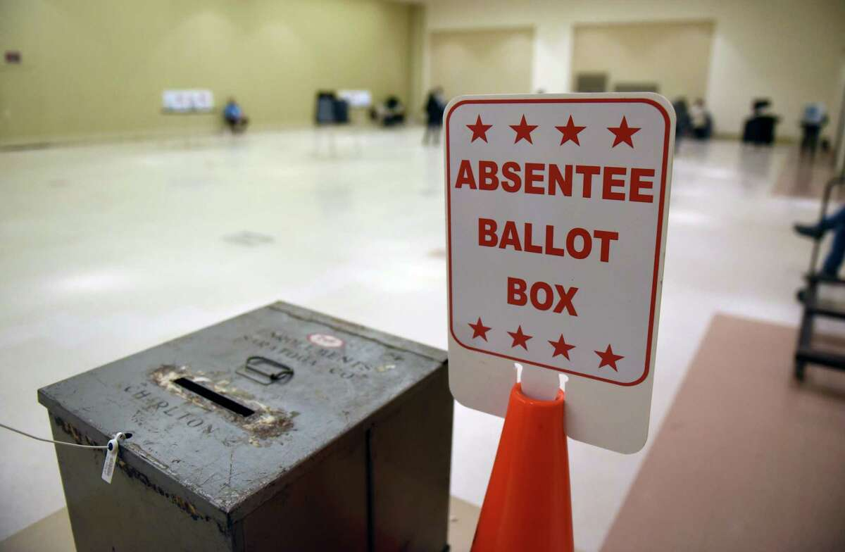 An absentee ballot box is posted at the Saratoga Springs City Center polling station on Tuesday, Nov. 3, 2020, on Broadway in Saratoga Springs, N.Y. (Will Waldron/Times Union)