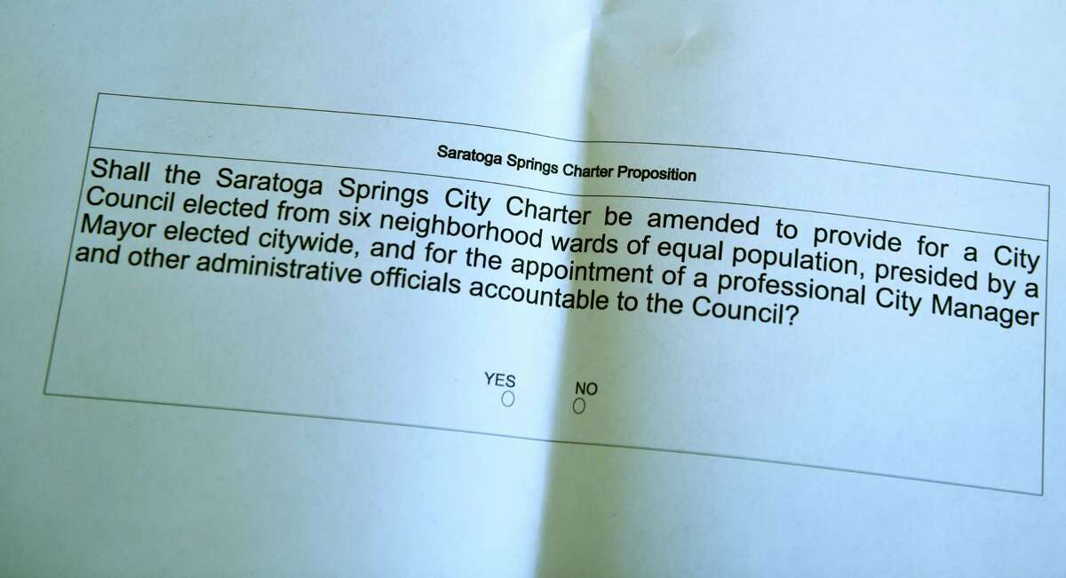 Sample ballot for the Saratoga Springs City Charter proposition is posted at the Canfield Casino polling station on Tuesday, Nov. 3, 2020, in Saratoga Springs, N.Y. (Will Waldron/Times Union)