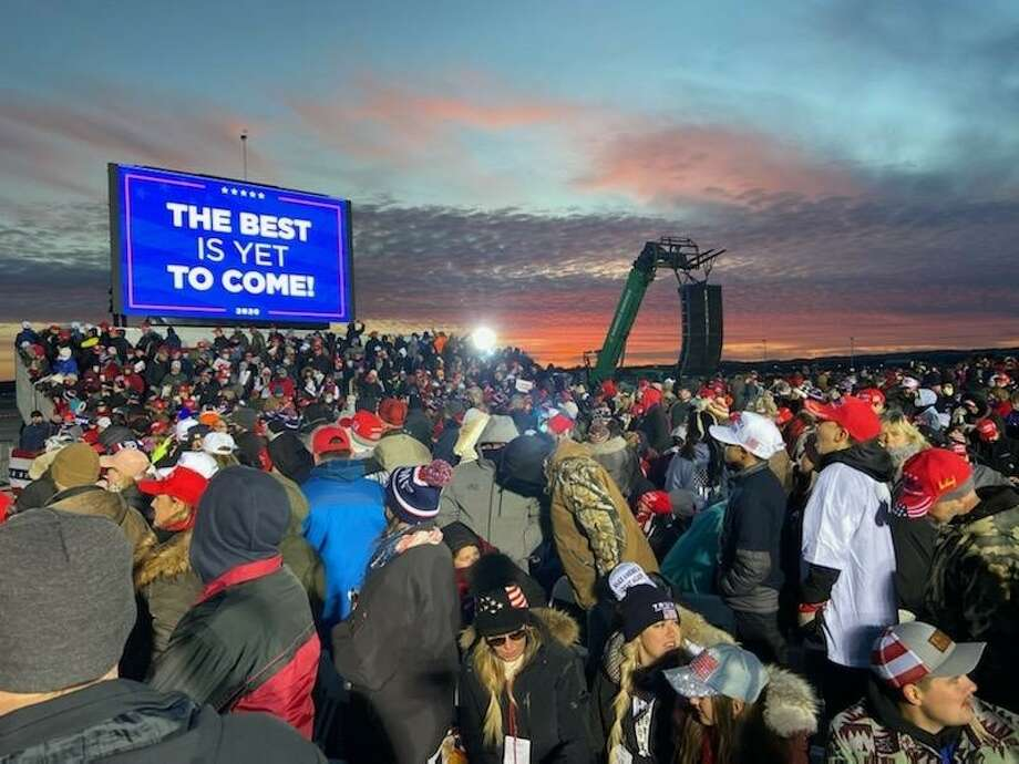 President Donald Trump held a campaign rally at the Cherry Capital Airport in Traverse City on Monday. Photo: Courtesy Photo/Steve Yoder