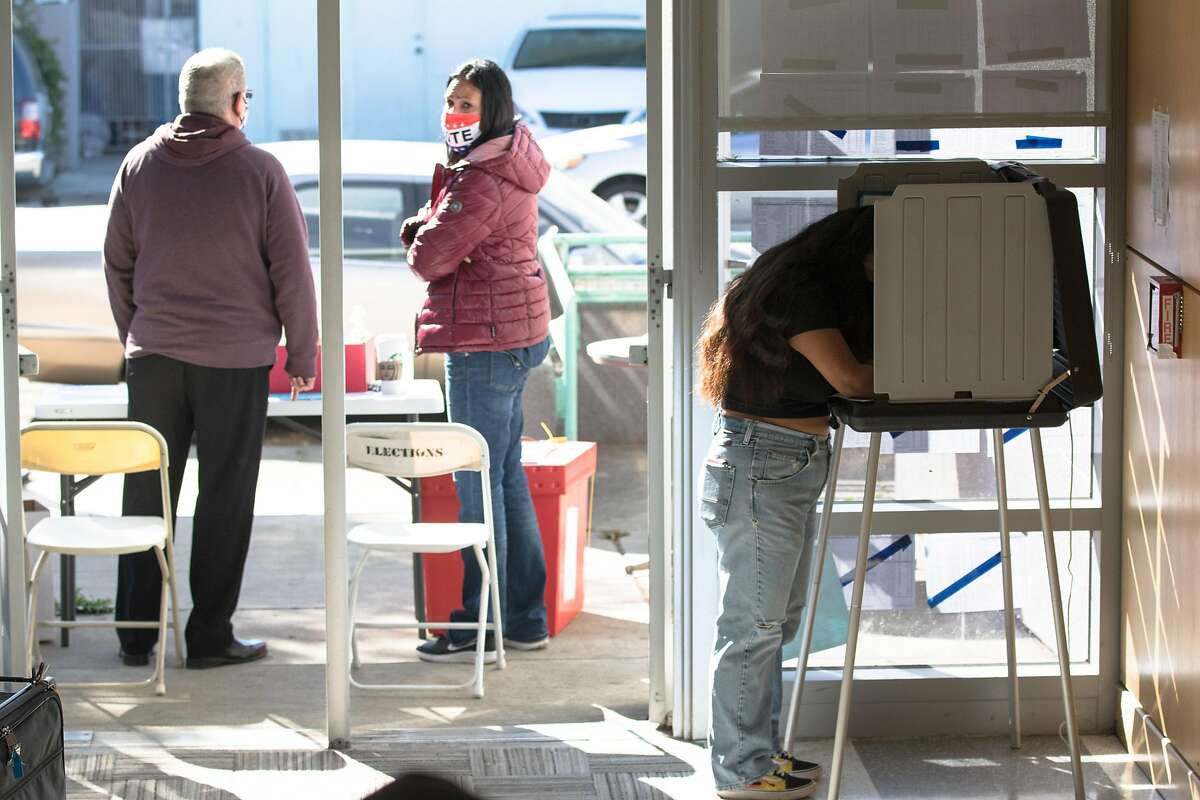 At the Sheridan Elementary School auditorium lobby poll location in Oceanview, a trickle of people voted in person. A poll inspector there confirmed that only eight people had cast votes in person by 10 a.m.