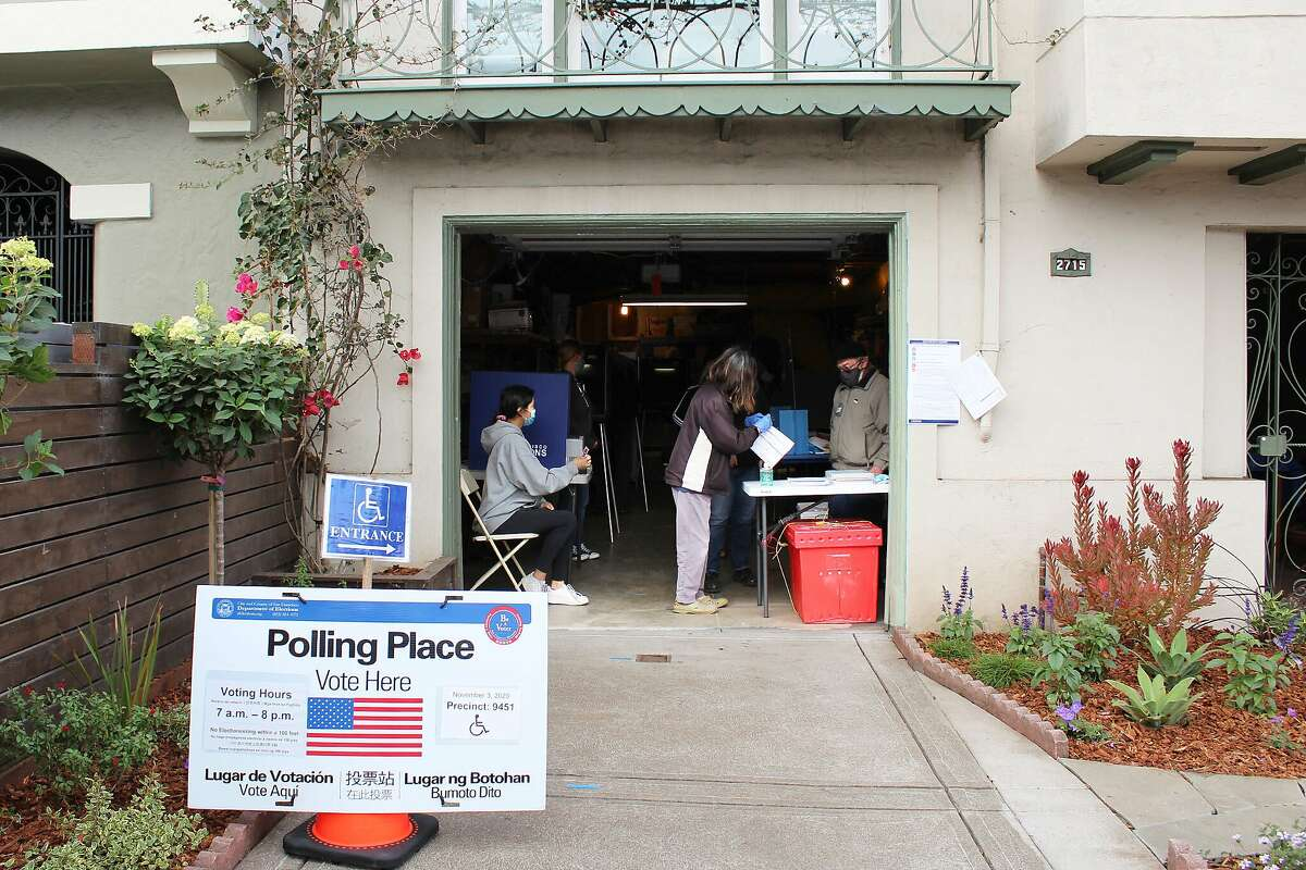 A garage polling place in San Francisco's Sunset neighborhood was quietly busy on election morning Nov. 3.