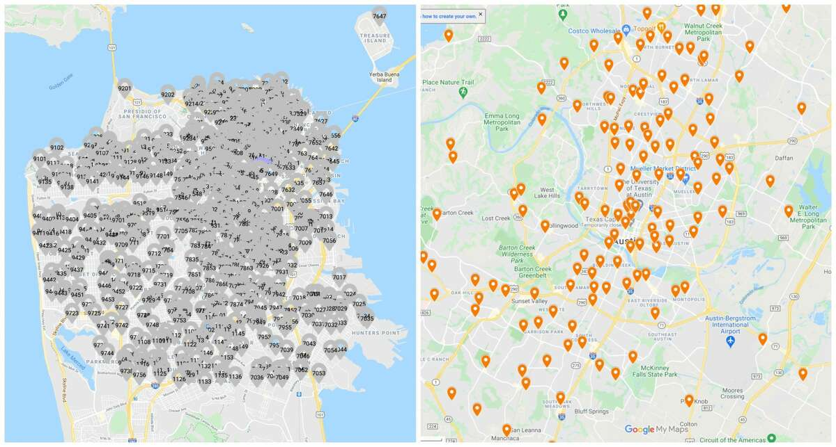 A comparative map of San Francisco, left, and Austin, right, shows the dramatic difference in available polling stations over a similar-sized area.