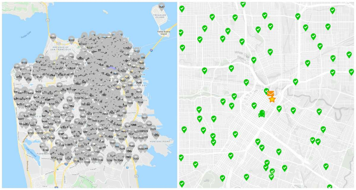 A comparative map of San Francisco, left, and Houston, right, shows the dramatic difference in available polling stations over a similar-sized area.
